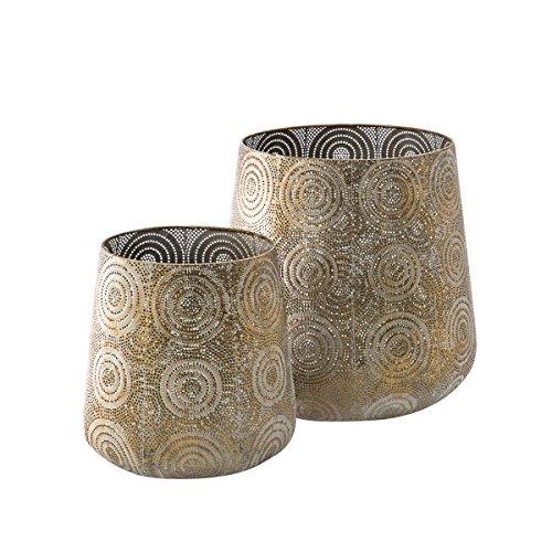 Übertopf-Set Oriental 2-teilig - Blumentöpfe aus Metall - Gold - ca. Ø 30 cm und Ø 22 cm