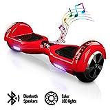 ACBK - Patinete Eléctrico Hover Autoequilibrio con Ruedas de 6.5' - Bluetooth + Luces LED + Mando a Distancia + Funda de Transporte - Velocidad máxima: 10-12 km/h, Autonomía 10-20 km (Rojo)