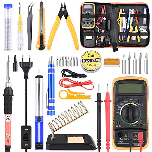 ETEPON 24PCS Lötkolben Set, 60W Lötstation Temperatur Regelbar mit Digital Multimeter ET007