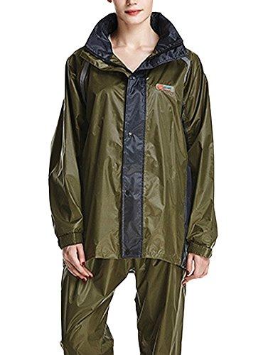 Icegrey Tuta Impermeabile Giacca Pantaloni Antipioggia alta Visibilità Completo Antipioggia Per Donna e Uomo Verde Militare / Nero