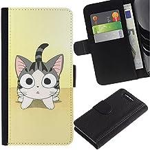 Paccase / Billetera de Cuero Caso del tirón Titular de la tarjeta Carcasa Funda para - Cute Japanese Anime Cat - Sony Xperia Z1 Compact D5503