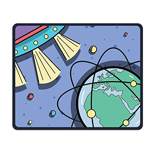 UFOs Orbits Around Earth Planet Illustrations Mouse Pad 7.08X8.66 inches/18X22 cm Decor Stitched Edges,Anti-Skid Rubber Mouse Pad -