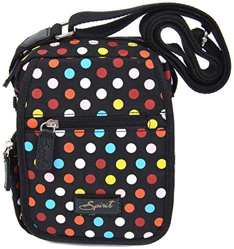 Spirit, Borsa a tracolla donna Black & Coloured Dots