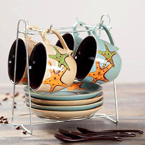 4 Tassen 4 Teller 4 Esslöffel Keramik Kaffeetassen Set Kaffee-Sets (inkl. Becherhalter) (überdachte Kunststoff-teller)