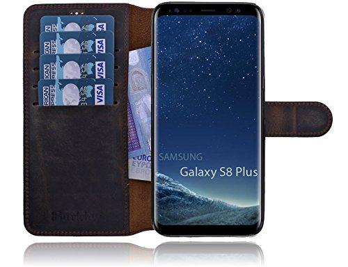 Burkley Samsung Galaxy S8 Plus (G955) Hülle Premium Handyhülle | Ledertasche | Handytasche | Schutzhülle | Book Cover | Case | Etui mit bruchfester Innenschale und Standfunktion (Dunkel Braun)