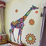S.Twl.E Stilvolle Hintergrund selbstklebender Wand Aufkleber dekorative Kunst und Kultur Studie sieben farbigen Giraffe Poster