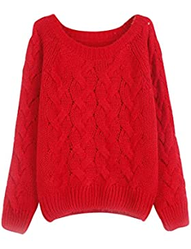 Mujer Pullovers Casual Cuello Redondo Grande Manga Larga colores del caramelo pullover Rojo