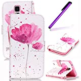 Samsung Galaxy S5 Mini Case,Galaxy S5 Mini Case,Samsung Galaxy S5 Mini Cover,EMAXELERS Samsung Galaxy S5 Mini Wallet Case Cool Skull Flower Pattern PU Leather Wallet Type Protective Magnet Design Flip Case Cover with Stand Card Holder for Samsung Galaxy S5 Mini with 1 x Stylus(Red flower)