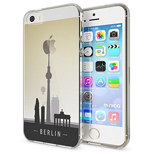 iPhone SE 5 5S Hülle Handyhülle von NICA, Slim Silikon Motiv Case Schutzhülle Dünn Durchsichtig, Etui Handy-Tasche Back-Cover Transparent Bumper für Apple iPhone 5 5S SE, Designs:Deer Berlin Skyline