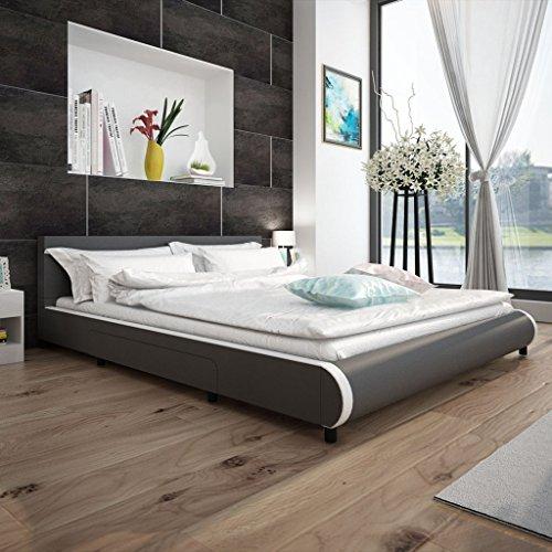 Anself Polsterbett Doppelbett Bett Ehebett aus Kunstleder mit 2 Schubladen 180x200cm ohne Matratze Grau