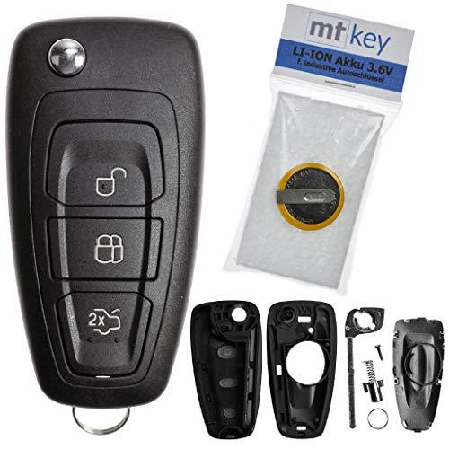 Custodia sostitutiva per telecomando auto chiave Ford Carter con 3 pulsanti + Coperchio + batteria HU101 per Ford Transit Focus III Galaxy II Fiesta VI