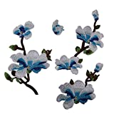 #6: Segolike 4x Embroidery Magnolia Flower Patch Sewing Dress Applique Craft - sky blue, /