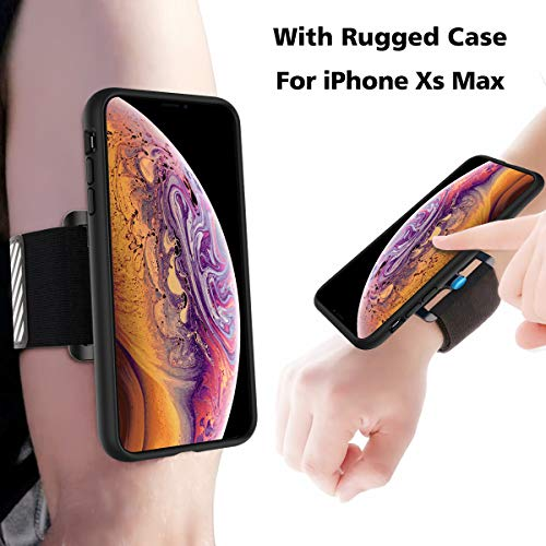 Gelink Running Armband for iPhone XS Max, Sports Wristband with Protective Rugged Case, Easy Mount Phone Holder for Running Jogging Gym Exercise Workouts (Black) Rugged Phone Case