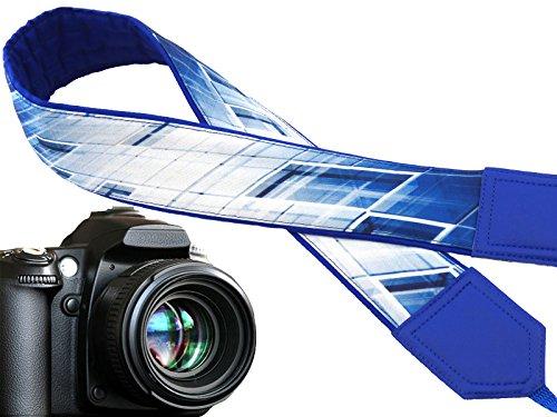 design-unico-cinghia-della-fotocamera-astratto-cinghia-della-fotocamera-flash-blu-e-bianco-laccio-pe