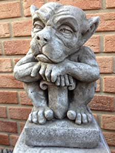 gartenfigur gargoyle figur steinfigur f r garten deko teich fantasiefigur steinfiguren amazon. Black Bedroom Furniture Sets. Home Design Ideas