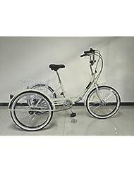 """Triciclo para adultos, marco plegable, ruedas de 24 """", engranajes shimano de 6 velocidades"""