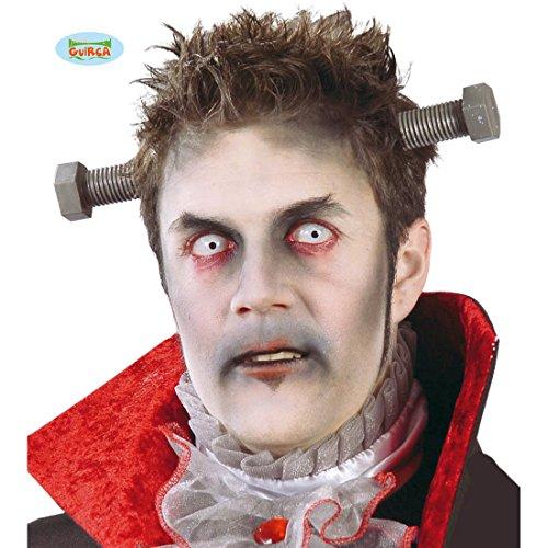 NET TOYS Schraube im Kopf Haarreifen Kopfwunde Gewinde Zombie Wunde Halloween Diadem ()