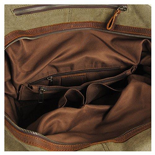 Estarer Borsone Borsa da Viaggio per Sport Weekend Bag uomo donne di tela e pelle 32 Litro Esercito verde Esercito verde