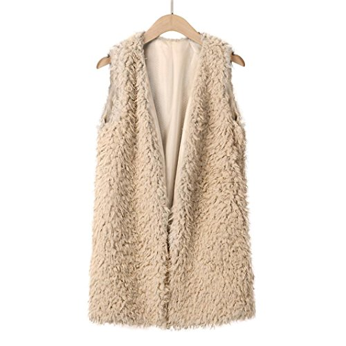 GreatestPAK Femme Sexy Lady Faux Fur Gilet Solide Casual Sans manches Gilet chaud Kaki