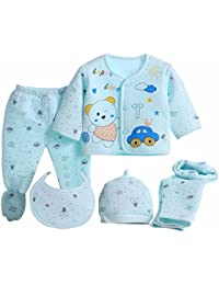 Miss U Newborn Baby High Quality Soft Feel Cotton Polyester Blend Top Pyjama With Cap And Bib Set For New Born Babies (0-3 Months) PRINT MAY VARY