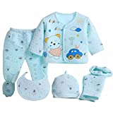 Miss U Newborn Baby High Quality Soft Feel Cotton Polyester Blend Top Pyjama With Cap And Bib Set For New Born Babies (Blue, 0-3 Months) Print may vary