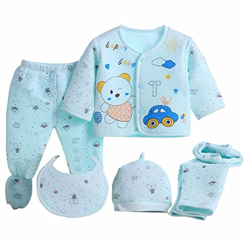 Miss U Baby Boys and Girls Soft Feel Cotton Polyester Blend Top Pyjama with Cap and Bib Set - Print May Vary (Blue, 0-3 Months)