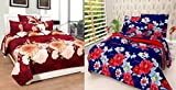 Stop N Shop Super Home Combo Set of 2 Grace Cotton King Size Double Bedsheet with 4 Pillow Covers