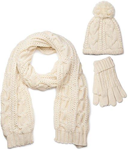 styleBREAKER Schal, Mütze und Handschuh Set, Zopfmuster Strickschal mit Bommelmütze und Handschuhe, Damen 01018208, Farbe:Creme-Beige / Schal (One Size)
