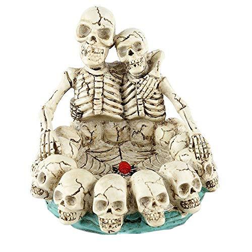 LQ-YANHUIGANG Kreative Aschenbecher Harz Kopf Handwerk Für/Halloween Ghost Festival/Dekoration Geschenke/Dekoration/Home/Geschenke (Color : White, Size : 15x14.5CM)