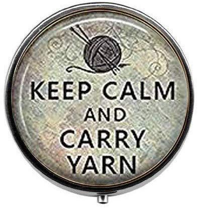 Caja de regalo para tejer con texto en inglés'Keep Calm and Carry Yarn Knitter's Knitter's Gifter', caja de píldoras para fotos artísticas, caja de pastillas de cristal, caja de dulces