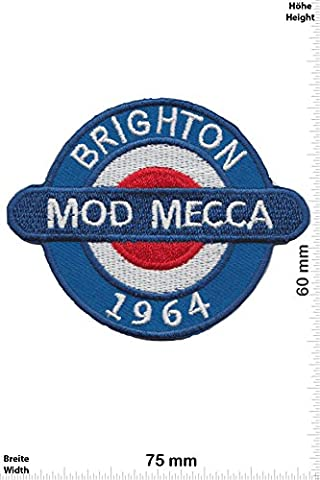 Patches - Brighton Mod Mecca - 1964 - Vespa - Motor sports - Sports Motorcycle Vespa - Iron on Patch - Applique embroidery Écusson brodé Costume Cadeau- Give Away
