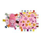INCHANT Bunte Baby-Sicherheitsdecke Taggy Blankets & Cute Engel Kleinkind-Bell-Ring-Kugel-Plüsch-Spielzeug, VE 2 Stk