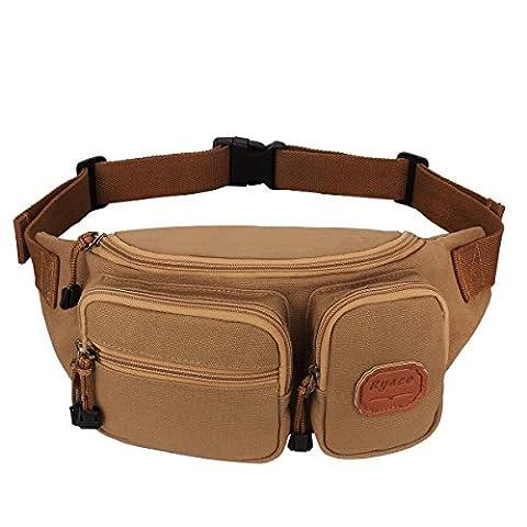 Ryaco [Canvas] R906 Waist Pack, Outdoor Sports Waist Bag, Bum bag, Sport Running belt, Exercise Runner Belt, Fitness Workout Belt, Race Belt, Workout Pouch, for Hiking, Climbing, Hunting
