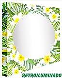 CCRETROILUMINADOS Kretroiluminos weiße Blumen, Beleuchtete Spiegel, Methacrylat, Mehrfarbig, klein