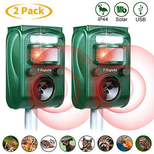 T-Raputa Repellente per Gatto a ultrasuoni,Frequenza Regolabile Impermeabile e con Batteria a Energia Solare Adatto per Cani, Gatti, Asini, procioni, Topi, Uccelli, Volpi, roditori