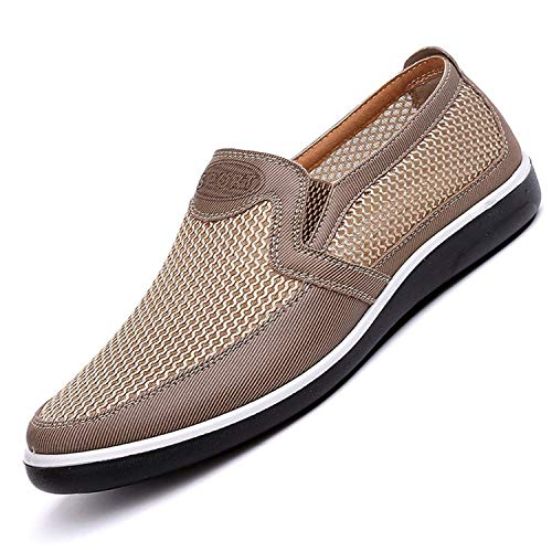 New Listing Summer Breathable Mesh Men Shoes Lightweight Men Flats Fashion Casual Male Shoes Men Loafers Beige 1 41