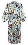 ECHERY Damen Morgenmantel Vintage Blumen Bademantel Satin Kimono Negligee Seidenrobe Lange Nachtwäsche Größe M Blau