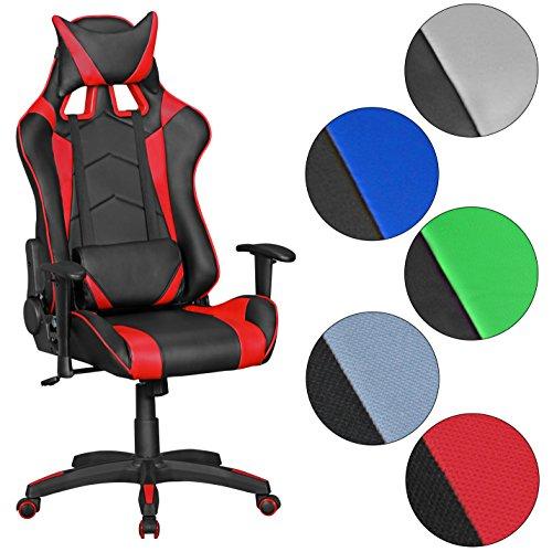 FineBuy GOAL - Gaming sedia | sedia da scrivania in similpelle | Corsa design Poltrona (Sedia Da Ufficio Poggiatesta)