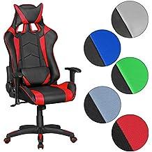 FineBuy GOAL - Gaming Silla | silla de escritorio en simil piel | Diseño Ejecutivo Racing silla con apoyabrazos | silla de oficina con Gamer Racer Asiento y el reposacabezas | Silla giratoria en la mirada de carreras