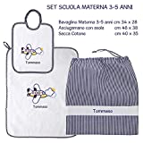 Coccole- Set ASILO SCUOLA MATERNA - 3 pezzi: 1 bavaglino, 1 asciugamano e 1 sacca con nome personalizzato per scuola materna -3-5 anni (Blu)