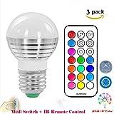 (Pack of 3)Lennystone® Led 5W RGB Light Bulbs, Glühbirne Glühlampe LED Leuchtmittel Farbwechsel Licht mit IR Fernbedienung,Dimmbar Scheinwerfer Dekorative Beleuchtung(5W E27 3Pcs)
