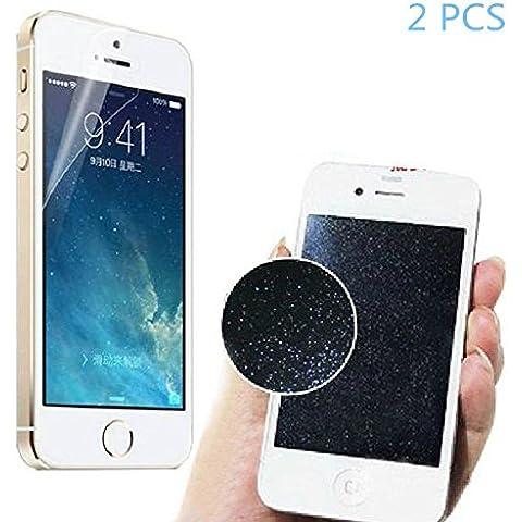 [2 paquetes]Vale® delantero y trasero del diamante de la plata de la chispa del brillo protector de la pantalla para el iPhone 5 5S