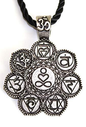 Collar Om y 7Chakras Sanskrit- símbolo Amor y Paz Infinie–Colgante Espiritual Yoga Meditación Budismo Tibetano–Bijou medallón Regalo Original Hombre Mujer Mixta