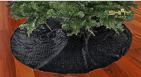 Weihnachtsbaum-Rock Schwarz 48 In Runde Pailletten Stoff Christbaumkugeln