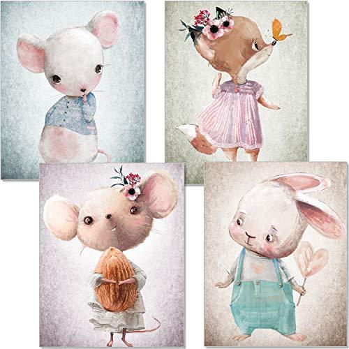 artpin® 4er Set Bilder Kinderzimmer - A4 Poster Babyzimmer - Maus Fuchs Hase pastellfarben Deko Mädchen Junge P56