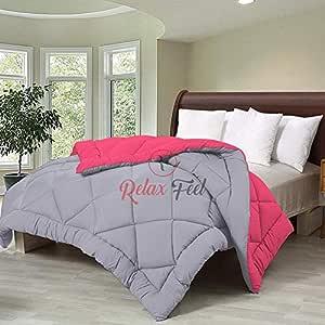 Relaxfeel 250 GSM Microfibre Reversible Plain Single Bed 60x90 Comforter/Quilt/Duvet/Razai/Rajai (Pink and Light Grey)
