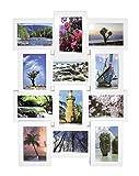 Close Up® 3D Fotorahmen für 12 Fotos- plastischer Qualität Collage Bilderrahmen - ca. 61 x 46 x 4 cm - weiß
