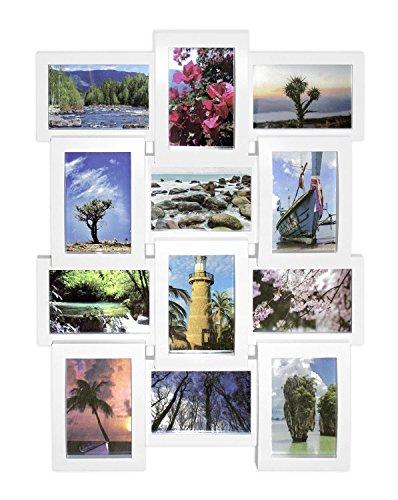 Close Up® 3D Fotorahmen für 12 Fotos- plastischer Qualität Collage Bilderrahmen - ca. 61 x 46 x 4 cm - weiß - 12 X 12 Bilderrahmen