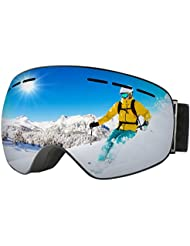 Gafas Snowboard de OMorc, Gafas Ski UV 400 Proteccion Anti Niebla con Vision Amplio y Claro, Lente de Doble Capa Gafas Esqui ajustable para Ski, Snowboard, Esqui, hombre y mujeres-Gris