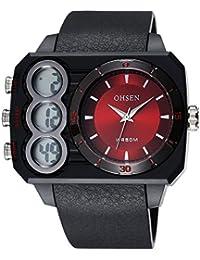 OHSEN Reloj De Deportivo De Moda Impermeable De Hombre Mujer Con Doble LED Multifunción Cronómetro Analógico - Negro / rojo